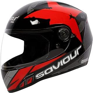 SAVIOUR GTX Corona Full Face Helmets for Mens (ISI Certified) 580 mm-Medium, Plain visor, (RED)