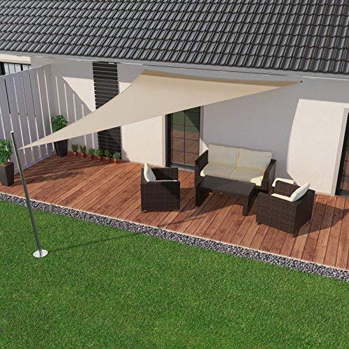 IBIZSAIL Sonnensegel wasserabweisend Sonnenschutz für Garten Balkon aus PES dreieckig-400 x 400 x 400 cm-Sand(inkl. Spannseilen)