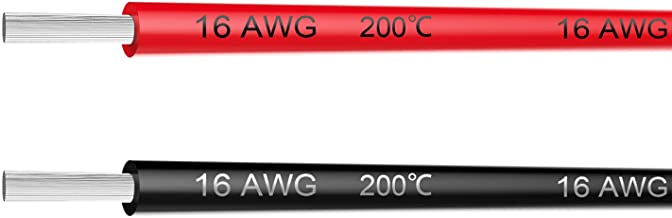 Electrical Wire 16 AWG 16 Gauge Silicone Wire Hook up Wire Cable 20 Feet [10 ft Black and 10 ft Red] - Soft and Flexible 2...