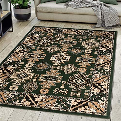 Carpeto Rugs Teppich Orientalisch Grün Klassisch Muster Kurzflor Öko-Tex Wohnzimmer 160 x 230 cm