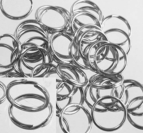 50 pcs Split Ring Fishing Lure, Lanyard, Dog Tag Connector Nickel Plated Spring Steel 12mm, 1/2 inch