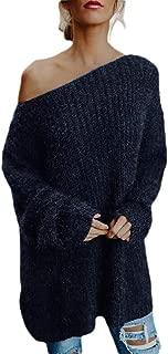 Macondoo Women Slim Fit Jumper Pullover Oblique Shoulder Knitted Sweater