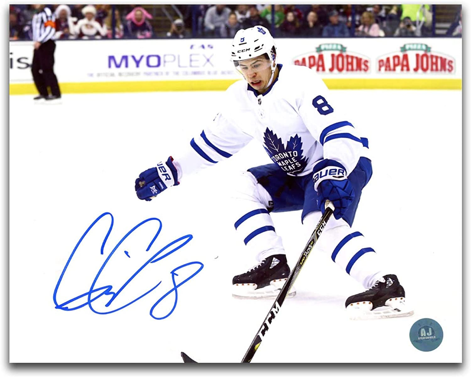 Connor Carrick Tgoldnto Maple Leafs Autographed White Jersey 8x10 Photo