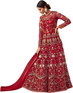 Ready to wear Designer Net Anarkali Suit Women Party Dress 8028 (Un-Stitched, Red)