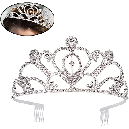 Women Girl Silver Rhinestone Crystal Bride Prom Party Hair Headband Crown Tiara