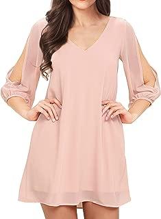 Women Summer Cold Shoulder Floral V Neck Shift Short Dress