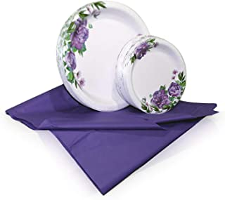 Tiger Chef Purple Peony Disposable Plate Paper Dinnerware Set for 48 Guest, Includes 48 10-inch and 7-in Paper Plates and 1 Plastic Tablecloth 54x108-in, Party Pack Tableware, Wedding, Birthdays