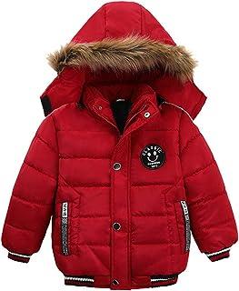 Surgoal Niños Chaqueta de Invierno Encapuchado Abrigos Acolchado Felpa Clásico Cuello de Piel Ropa