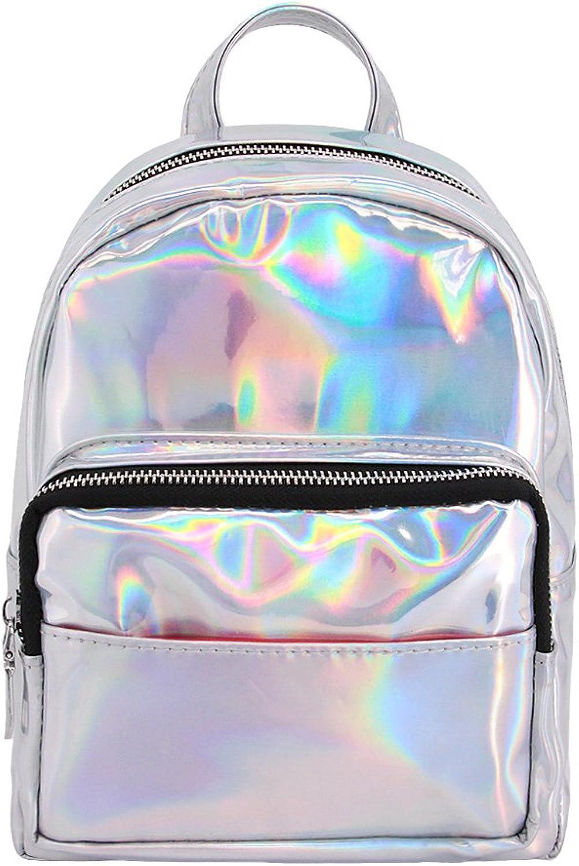 Candice Women Hologram Holographic PU Leather Shoulder Bag Satchel Small Backpack Knapsack