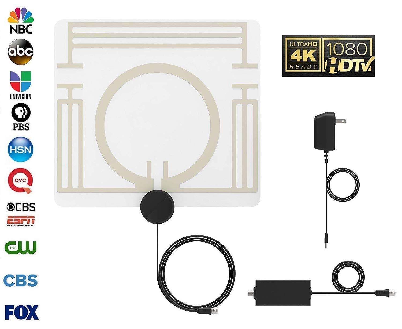 Antena de TV para Interiores, Antena de HDTV Digital Amplificada, Rango de 60-80 Millas: Compatible con 4K 1080P, Transparente, Ultra Delgado: Amazon.es: Electrónica