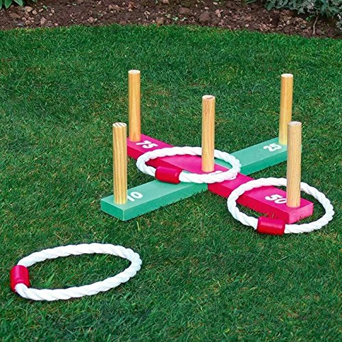 elitezotec New Garden Quoits Game Family Hoopla Summer Pegs Rope Indoor Outdoor Kids Fun
