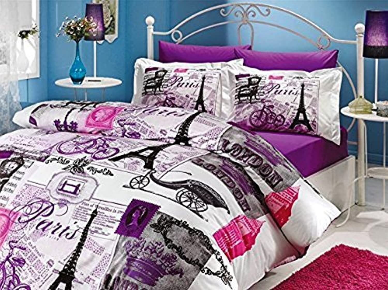 100% Turkish Cotton Comforter Set 5 Pcs.   Paris Eiffel Tower Vintage Purple Theme Themed Full   Queen Size Bedding Linens