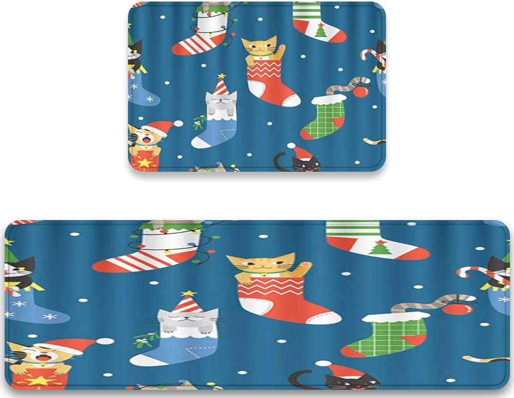 MATEKULI Spring new work Anti Fatigue Kitchen Rug In stock Pattern 2 Piece Sets Christmas