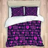 LASINSU Bedding Juego Funda Edredón,I Love You Throw Blanket Romance Pattern Heart Forms y Love Quote Valentines Couples,Microfibra Funda Nórdico y Fundas Almohada (Cama 220x240cm+Almohada 50X80cm)