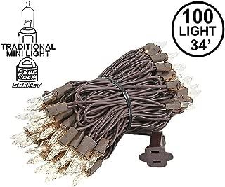 Novelty Lights 100 Light Clear Christmas Mini Light Set, Brown Wire, 34' Long