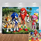 Sonic Hedgehog Themed Photo Background Baby Shower Photo Booth Studio Props Supplies Vinyl Scenery Mountain Cartoon Photography Backdrop Boys Girls Birthday Party Banner 5x3ft Decoration