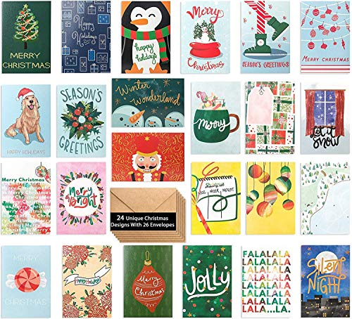 24 Watercolor Christmas Cards - Assorted Holiday Greeting Cards in 24 Unique Watercolor Designs - Christmas Greeting Card - Include 24 Kraft Envelopes - Bulk Assorted Christmas Cards - 4 x 6 Inches