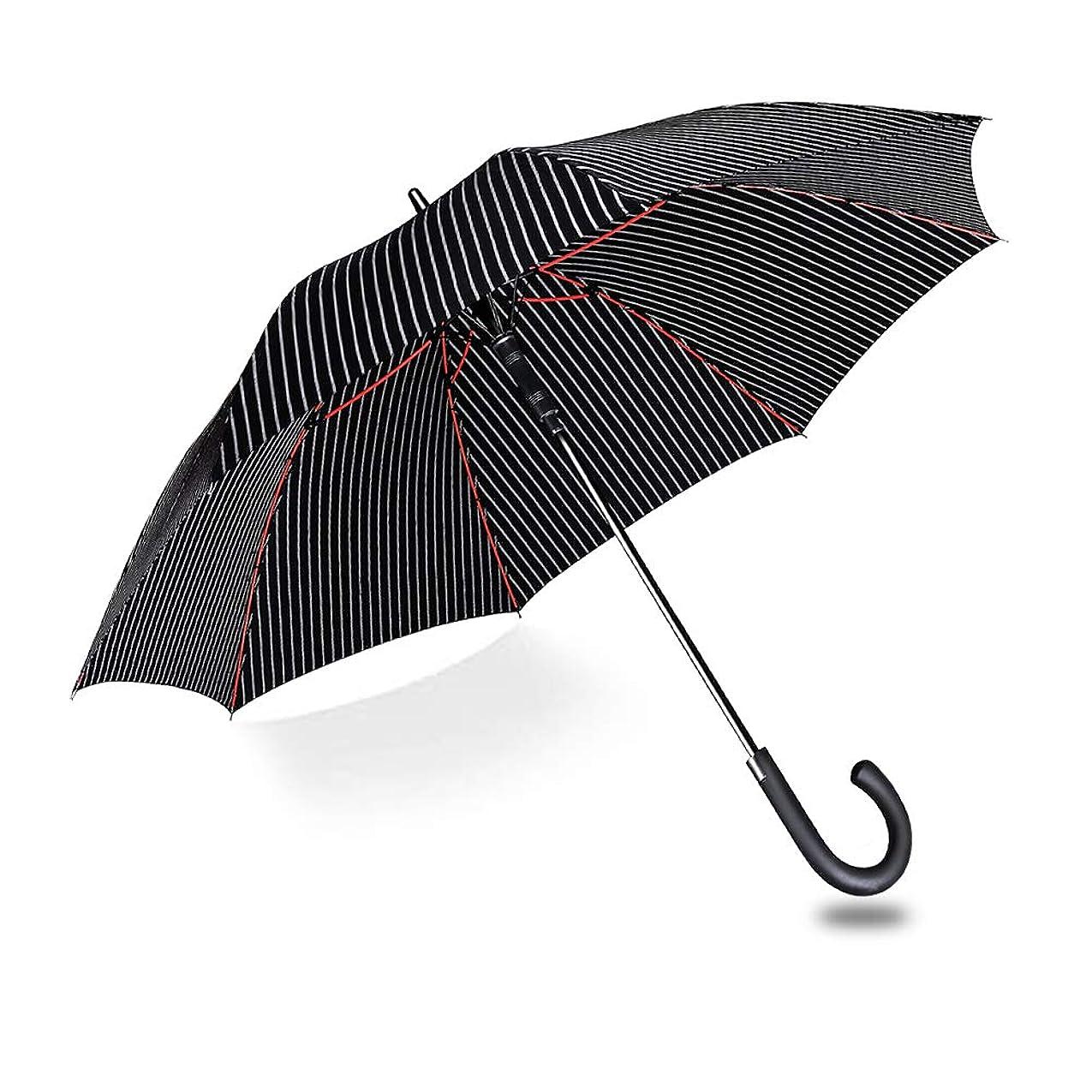 タイプファイバ連隊長傘 メンズ 雨傘 ワンタッチ自動開閉式 - ganamoda 耐風撥水加工 ストライプ ブラック 紳士傘 丈夫 大型 晴雨兼用 おしゃれ 高強度で強風に負けない 悪天候に強い