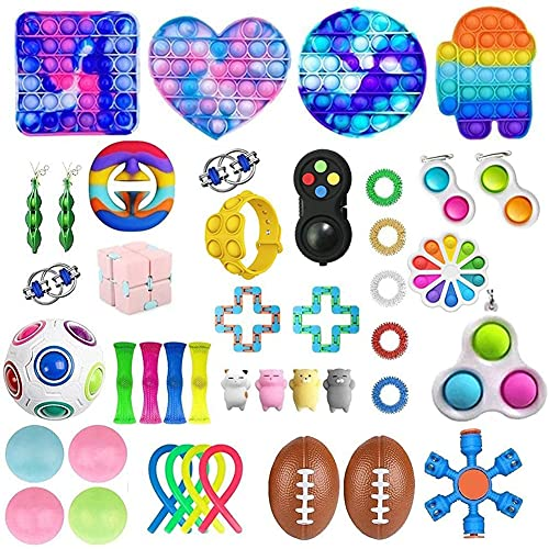 LICHENGTAI 43 Stück Fidget Toys Pack Set, Fidget Toys Set Box, Antistress Spielzeug Set, Fidget Toy Stress Ball, Lindert Stress Sensorisches Fidget Spielzeug für ADHD Erwachsene