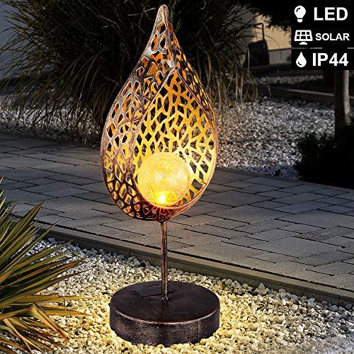 LED Solar Tisch Leuchte Feuer Effekt Garten Deko Tropfen gold Außen Lampe Crackle Glas Flammen