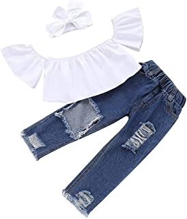 snowvirtuosau 3pcs Kids Girls One Shoulder Tops Hole Pants Bowknot Headband Outfits Set