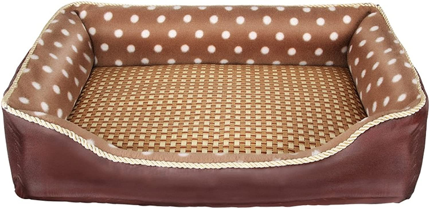 Full Square Dog Bed  Dog House  Pet Bed Kennel Exclusive Summer Woven Rattan mat Kennel Bed (80  70  15cm)