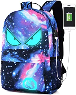 Lmeison Anime Luminous Backpack for Boy Girls, Galaxy Bookbag with USB Charger Port Pencil Case, Anti-theft Backpack with Lock 15.6inch Laptop Bag Waterproof Travel Daypack for School