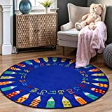 nuLOOM Giza Rainbow Alphabet Kids Rug, 8' Round, Blue
