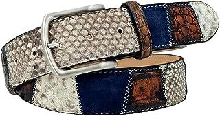 ESPERANTO Cintura Blu Unisex in Pitone e Coccodrillo abrasivato a mano con riflessi arancioni, pelle scamosciata 4 cm