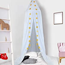 Ceekii Canopy for Girls Bed, Round Dome Hook Cotton Princess Mosquito Net Canopy Kids Bedroom Games Reading Tent Nursery Play Room Decor (White)