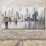 JXFFF Pintado a Mano (40x80CM Sin Marco) Nueva York Skyline Cityscape Architecture Pintura por...