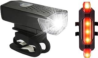 Kit de luzes de bicicleta recarregável, conjunto de farol e lanterna traseira, liberação rápida, impermeável, vários modos...