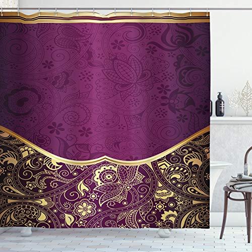 ABAKUHAUS orientalisch Duschvorhang, Orientalische Blumenstrudel, mit 12 Ringe Set Wasserdicht Stielvoll Modern Farbfest & Schimmel Resistent, 175x200 cm, Hellgelb Pflaume