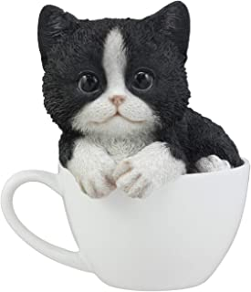Ebros Lifelike Tuxedo Black and White Cat Teacup Pet Pal Statue 5.5
