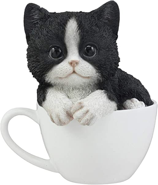 Ebros Lifelike Tuxedo Black And White Cat Teacup Pet Pal Statue 5 5 Tall With Glass Eyes