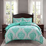 Comfort Spaces Comforter Set Ultra Soft Printed Pattern Hypoallergenic Bedding, Twin/Twin XL(66'x90'), Coco Teal Damask