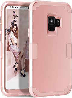 Samsung Galaxy S9 Case, KMISS 3in1 Defense High Impact Shock Absorbing Hard PC Soft Silicone Hybrid Protective Cover Case for Samsung Galaxy S9 2018 Release (Rose Gold)