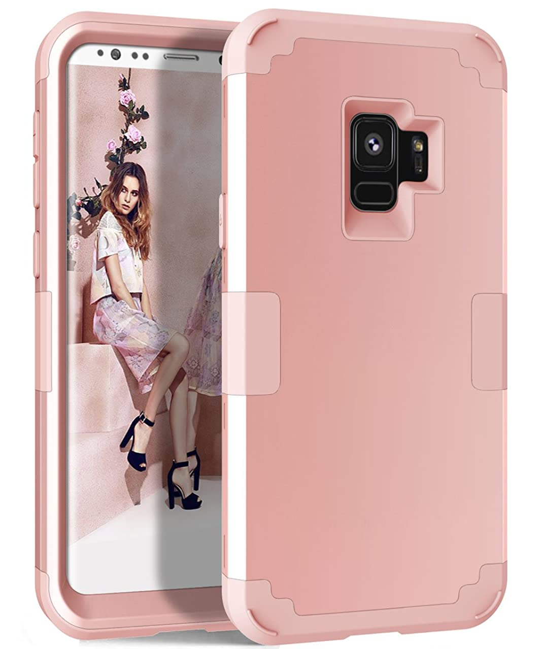 Galaxy S9 Case, MCUK Hybrid Heavy Duty Scratch-Resistant Shockproof Full-Body Protective Case Cover with Dual Layer Hard PC+ Soft Silicone Impact Protection for Samsung Galaxy S9 (Rose Gold)