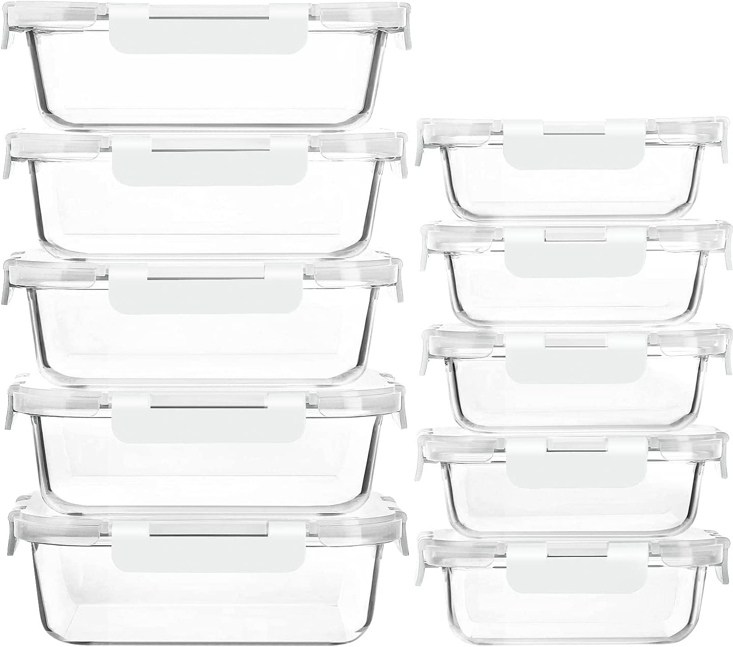 10-Pack Glass Meal Prep Brand Cheap Sale Max 67% OFF Venue Food with Containers Lids-MCIRCO