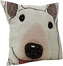 SPXUBZ Cute Happy Bull Terrier Big Head Pillow Cover Decorative Home Decor Nice Gift Square Indoor Pillowcase Size: 16x16 Inch(Two Sides)