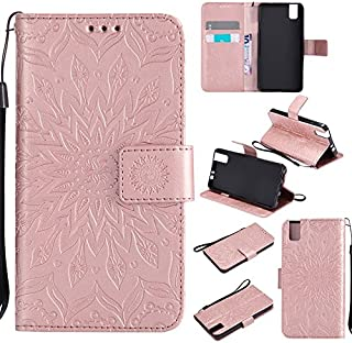 JUJIANFU-Phone Case for Huawei Honor 7i/for Huawei Shot X Sun Flower Printing Design PU Leather Flip Wallet Lanyard Protective Case with Bracket Card Slot (Color : Rose Gold)