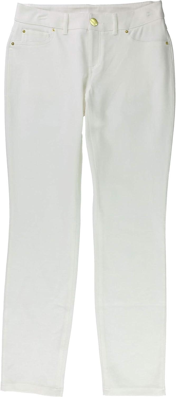 I-N-C Womens Curvy Ponte Skinny Casual Chino Pants, White, 4