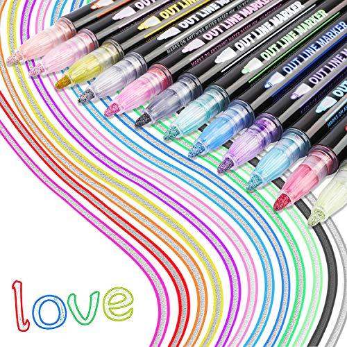 HOWAF Outline Stift, 12 Farben Wasserfester Stift Geschenkkarte Schreiben von Zeichenstiften zum Geburtstagsgruß, Schrottbuchung, Malen,Basteln zum Selbermachen