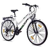 Bicicleta de ciudad KCP Terrion para mujer de 66 cm, para paseos, con 18 marchas Shimano, en negro y blanco