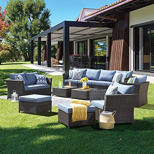 XIZZI Patio Furniture Set,Outdoor Sectional Sofa with 4 Pillows and Furniture Cover,Fully Assembled Wicker Furniture with Coffee Table (Blue)