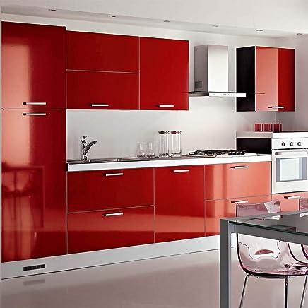 KINLO 5 * 0.61M Papier Peint Auto Adhésif Rouge Armoire De Cuisine En PVC