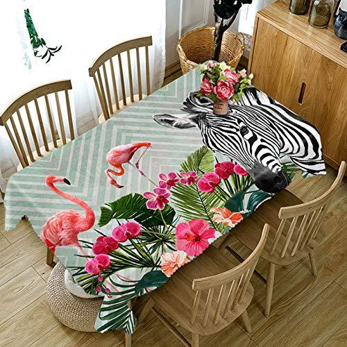 XXDD Mantel 3D patrón de Cebra Flamenco Rojo Mantel a Prueba de Polvo Rectangular Grueso algodón Cubierta de Mesa A4 140x200cm