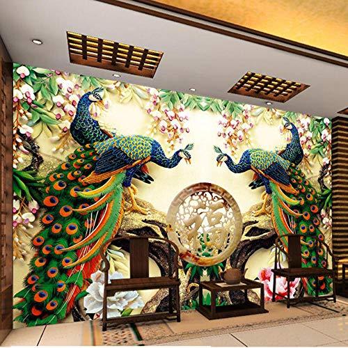 MRQXDP Papel tapiz fotográfico Estilo europeo Flores de pavo real Mural de pared de sala de estar 3D Decoración de interiores clásica Papel tapiz 3D papel de parede