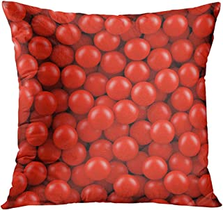 Throw Pillowcase Pool Red Balls Pit Gum Bubble Dry Plastic Fashion Square Size 18 x 18 Inches Zippered Home Decor Cushion Covers