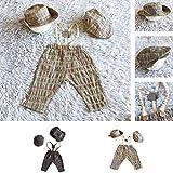 Centitenk 3PCS / Set Neugeborene Fotografie Shoot Romper,Baby Knit Props Retro Fotosession Baby Baby-Mütze Hose Crochet Strickmode-Kostüm-Ausstattung